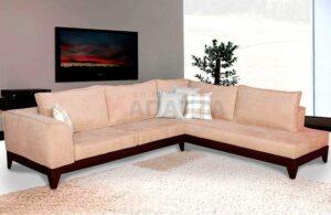 Γωνιακός καναπές με ξύλινη βάση