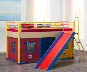 Κρεβάτι παιχνιδόσπιτο με τσουλήθρα
