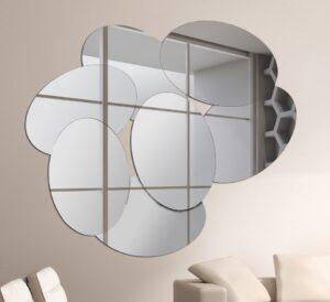 Ασύμμετρος Χειροποίητος Καθρέπτης με οβάλ σχήματα