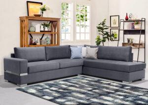 Γωνιακός καναπές με βελουτέ ύφασμα