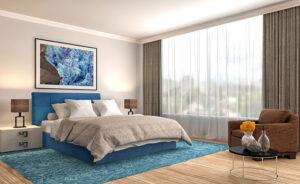 Υπέρδιπλο κρεβάτι ντυμένο