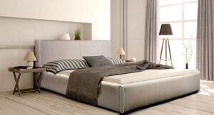 Ντυμένο κρεβάτι σε μοντέρνο σχεδιασμό