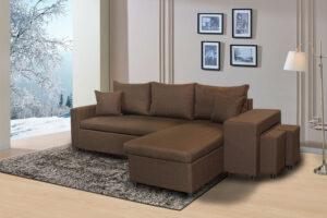 Γωνιακός καναπές κρεβάτι με σκαμπό