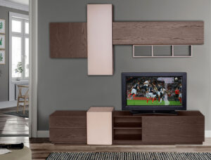 Σύνθετο τηλεόρασης σε δρυ με λάκα