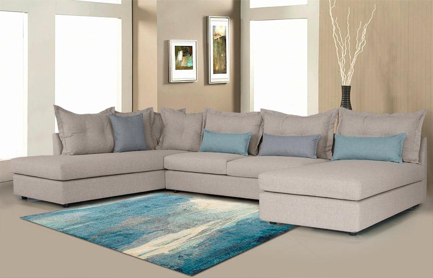 Κατηγορία σαλόνια Καναπές σε σχήμα Π με αδιάβροχο ύφασμα Έπιπλο Καπατζά