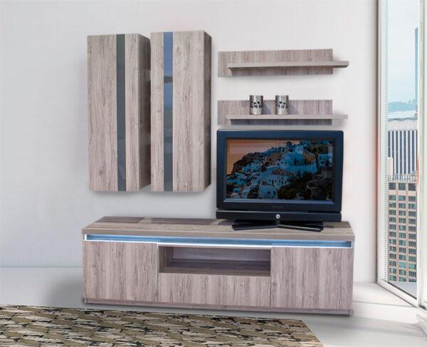 Σύνθεση τηλεόρασης με high gloss MDF σε καθιστικό δωμάτιο