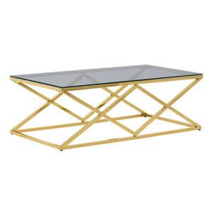 Μεταλλικό τραπέζι με γυάλινη επιφάνεια