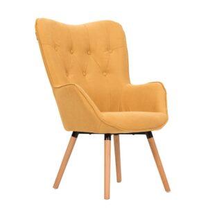 Πολυθρόνα κίτρινο χρώμα με καπιτονέ πλάτη