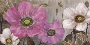 Ελαιογραφία Λουλούδια σε ασημένιο καμβά με strass