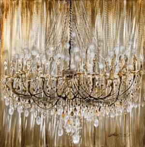 Ελαιογραφία Πολυέλαιος με φύλλο αλουμινίου