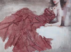Κόκκινο Φόρεμα Ελαιογραφία 3D με ύφασμα