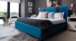 Κρεβάτι ντυμένο σε μοντέρνο σχεδιασμό