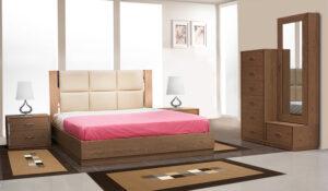 Κρεβατοκάμαρα με δερμάτινο κεφαλάρι