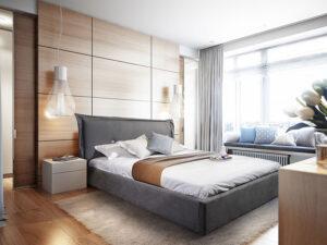 Μοντέρνο κρεβάτι ντυμένο με αδιάβροχο ύφασμα